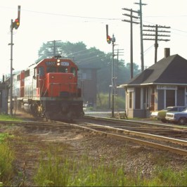 A Grand Trunk engine passing the depot