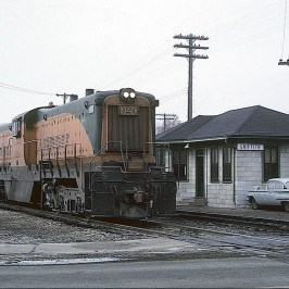 "An EJ&E locomotive passing the ""J"" depot"