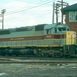 An Erie Lackawana train passing the tower