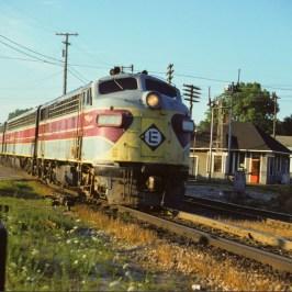 An Erie Lackawana train passing the depot