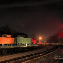 Our train cars during the night