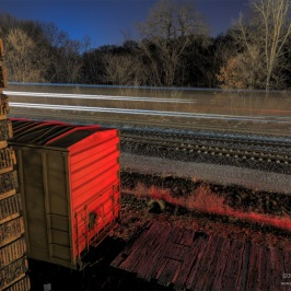 Our boxcar and flatcar during the night